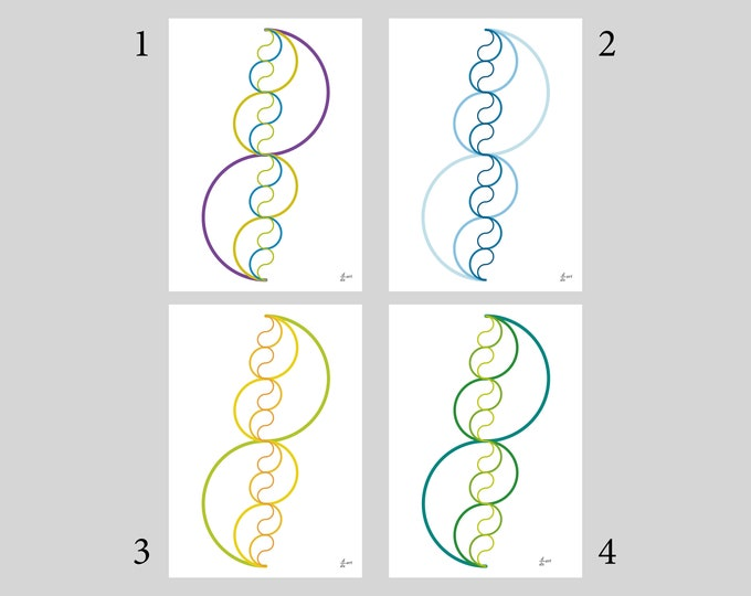 Pi me a river (Variants 1-4) [mathematical abstract art print, unframed] A4/A3 sizes
