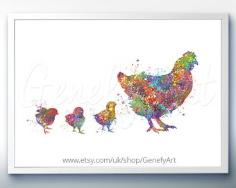 Chicken and Chicks Watercolor Art Print  - Watercolor Painting -  Hen Watercolor Art Painting - Bird Poster - Home Decor