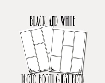 """Digital Photo Booth Guest Book Pages in White and Black (8.5""""x11"""")"""