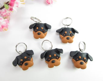 Rottweiler dog stitch markers, Rottweiler gifts charms polymer clay knitting accessories dog charm pet lover gift knit knitters dogs