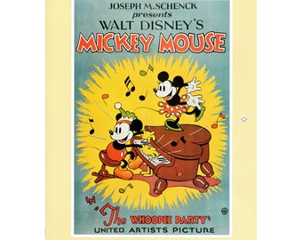 """Vintage Mickey Mouse Print, Item 106M, 1932, 16"""" x 20"""" Matte, Mat, Disney Art, Disney Poster The Whoopee Party"""