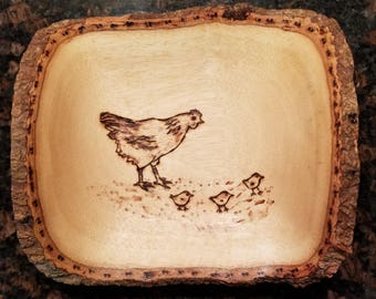 Hen and Chicks Rustic Wooden Dish