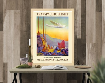 Vintage Travel Poster - Transpacific Flight Pan American Airways -  (High Quality Art Print - Multiple Size Options Available) TP 69