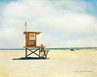 Beach Photography, California Wall Art Print, Newport Beach, Wall Decor, Lifeguard Stand, Tower, Coastal Decor, Surf Art, Beach Print