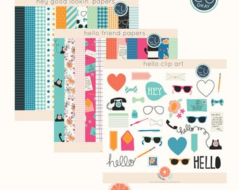 Bundle and Save! Hello Digital Clip Art and Papers - 31 Hand-Drawn Illustrations and 24 Digital Papers- Commercial Use - instant download