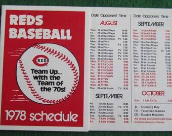 Original 1978 Cincinnati Reds Baseball Schedule - Free Shipping