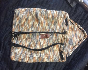 Hand made knitted draw string bag