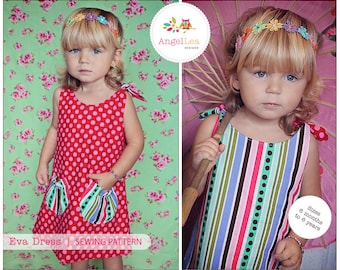 PDF Sewing Pattern and Tutorial for Eva Dress, Reversible Tie Top Dress, Make and Sell, DIY. Sewing Patterns by Angel Lea Designs