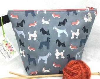 Pet Show Small Project Bag, Knitting Bag, Crochet bag, Dog Project Bag, All purpose Bag, Utility Bag