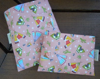 Reusable sandwich bags - Reusable snack bag - Fabric sandwich and/or snack bags set -  Eco lunch bags -   Girly teepees