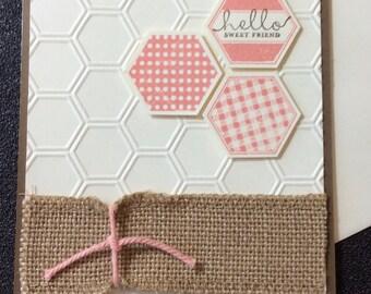 Friendship, Hello, Honeycomb, Burlap, Handmade, stampin up, card