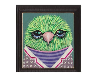 Original Painting- Green Tweety #26 - bird with clothes - SPECIAL 3 for 88 (read description for details) artist Marisa Ray