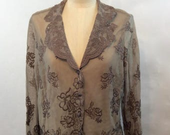 Vintage 90s Sheer Embroidered Top/Feminine Neutral Sheer Mesh Blouse /Floral Embroidered Lace Jacket