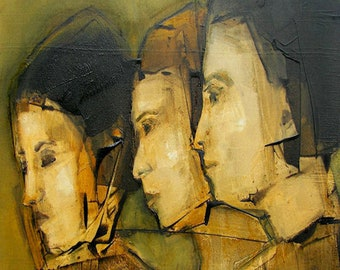 FIGURE ART FIGURATIVE  The Profilers  - Colette Davis Abstract Giclee print from my original oil painting -  Art
