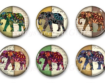 Elephant Magnets, Button Magnets, Fridge Magnets, Round Magnets, 1 1/4 inch, Best friends gift, Hostess Gift, SET OF 6, Elephants.