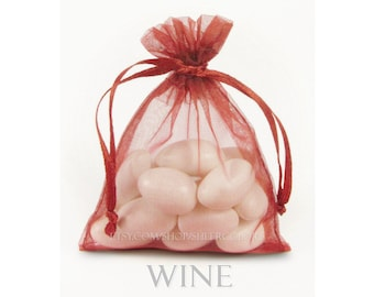 30 Wine Organza Bags, 5 x 8 Inch Sheer Fabric Burgundy Favor Bags