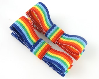 Rainbow Barrettes For Baby - Matching Tuxedo Bow Alligator Clips - Babies Toddlers Girl Accessories Bright Color Stripes
