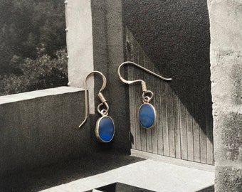 blue opal tiny earrings