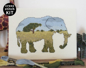 Elephant cross stitch kit, modern embroidery kit, safari animal, Animals at Home needlework pack - includes everything you need