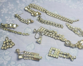 BEAUTIFUL Sparkling Craft Lot of Vintage and Salvaged  Rhinestone  Earrings and Dangles  Perfect for BRIDAL Assemblage