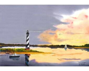 Watercolor Lighthouse painting PRINT  Cape Hatterus North Carolina Seascape Sailboats sailboat  GICLEE reproduction