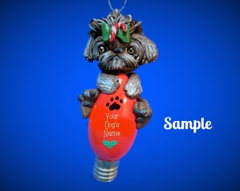 Shaded Brown Brindle Shih Tzu Dog Christmas Holidays Light Bulb Ornament Sally's Bits of Clay PERSONALIZED FREE with dog's name