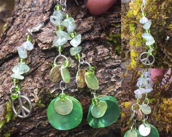 Prehnite with Epidote Green Shell Earrings with matching Peace Sign Clip