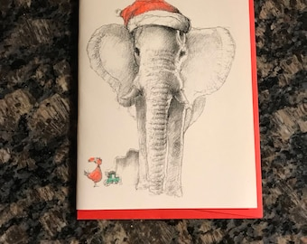 Santa Elephant Christmas Card, Elephant Holiday Card, Hand drawn card, Handmade Christmas Card, Santa Christmas Card