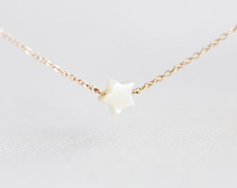Tiny Star Necklace - tiny ivory mother of pearl star necklace