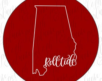 """Alabama Crimson Tide State Outline Roll Tide (mono-lined)  3"""" Game Day Buttons Pins"""