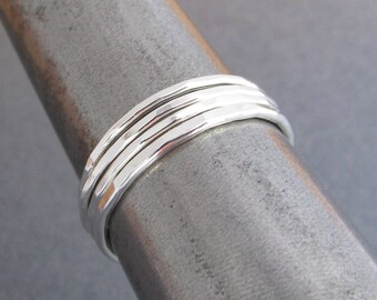 Set of 4 Stacking Rings / Argentium Sterling Silver Stack Rings / Stacker Rings / Varying Widths for Unique Look / Eco Friendly /  2500