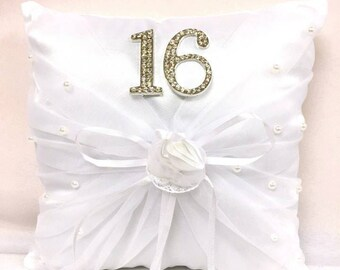 Sweet 16 Tiara Pillow with Rhinestone Number