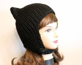 Black cat hat, worm cat ears hat, cat beanie, crochet hat, knitted hat, cat earings, cat girl, cat women, cat accessories, winter hat