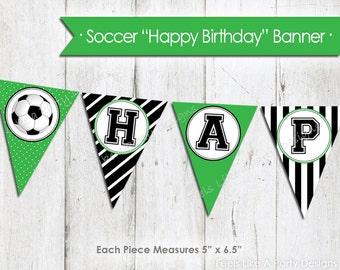 Green Soccer Happy Birthday Banner - Instant Download