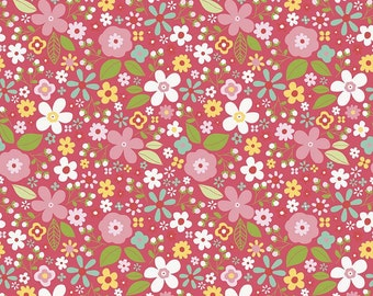 Red Floral Fabric/ Garden Girl Raspberry/ Mini Floral/ Riley Blake Fabric/ Fabric by the Yard/ Garden Girl Fabric/ Floral Cotton