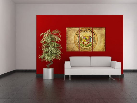 LARGE 3 panels / boards wrapped stretched State of hawaii seal flag The Aloha State  ; canvas wall art Giclee Art fine art Repro