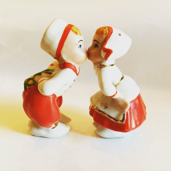 Vintage Salt and Pepper Shakers Red and White Mid Century Swiss Kissing Boy and Girl with Pineapple