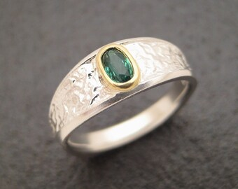 Sterlium Plus Reticulated Ring with Teal Colored Tourmaline