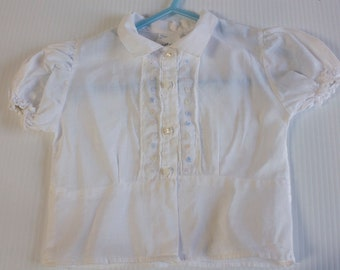 Vintage 1960s White Girl's Blouse with lace by Kitty Kollier size 2