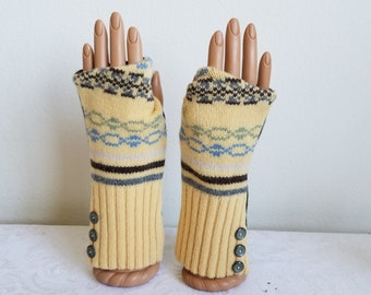Sunny Yellow Fingerless Gloves in Lambswool with Gray Side Buttons