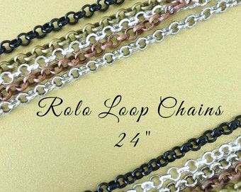 10 ROLO  Loop Chains 24 inches Necklaces 2mm Lobster Claw Silver Plated Black Antique Brass Copper . Iron Base . Lead Nickel Free