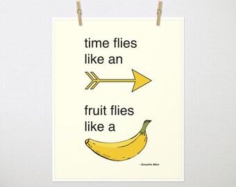 Time flies like an arrow, fruit flies like a banana, Groucho Marx. Inspiration, Arrow, Arrow Artwork, Yellow, Yellow Print  8x10 Print