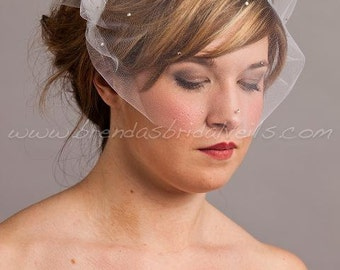 Tulle Bandeau Birdcage Veil with Swarovski Crystal Rhinestones, Ivory - White - Black - Champagne - Many Other Colors