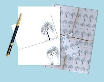 Winter Tree printable stationary, printable stationery, printable letter paper, downloadable stationary, downloadable stationery, letter set