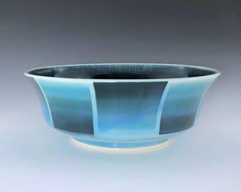 Ceramic Serving Bowl, Teal Blue Bowl, Ceramic Fruit Bowl, Porcelain Bowl, Teal Salad Bowl, Wheel Thrown Pottery Bowl, Pasta Bowl, Chip Bowl