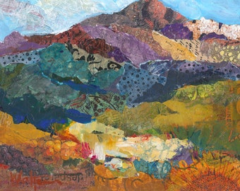 Wine Country Mountain Original Mixed Media Painting