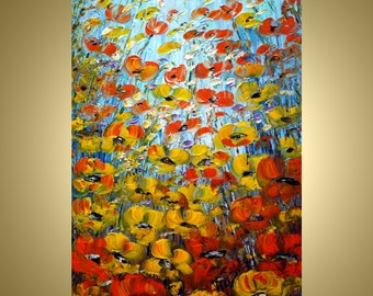 Abstract Modern Art Flowers Modern Impasto Oil Painting ORANGE YELLOW POPPIES Field on 36x24 canvas by Luiza Vizoli