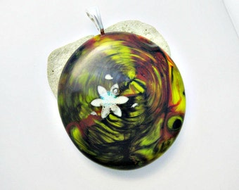 Fused Dichroic Glass -  Glow In The Dark Flower Pendant