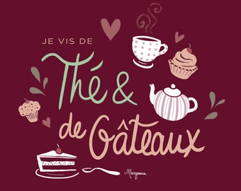 Tea and Cakes - French Illustration - Totebag