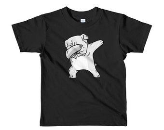 White English Bulldog Dog Dabbing Short Sleeve Kids T-Shirt